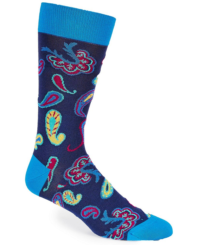 Bugatchi Mercerized Floating Paisley Mid-Calf Socks