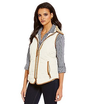 Cremieux Kennedy Front Zip Detachable Faux-Fur Collar Quilted Vest