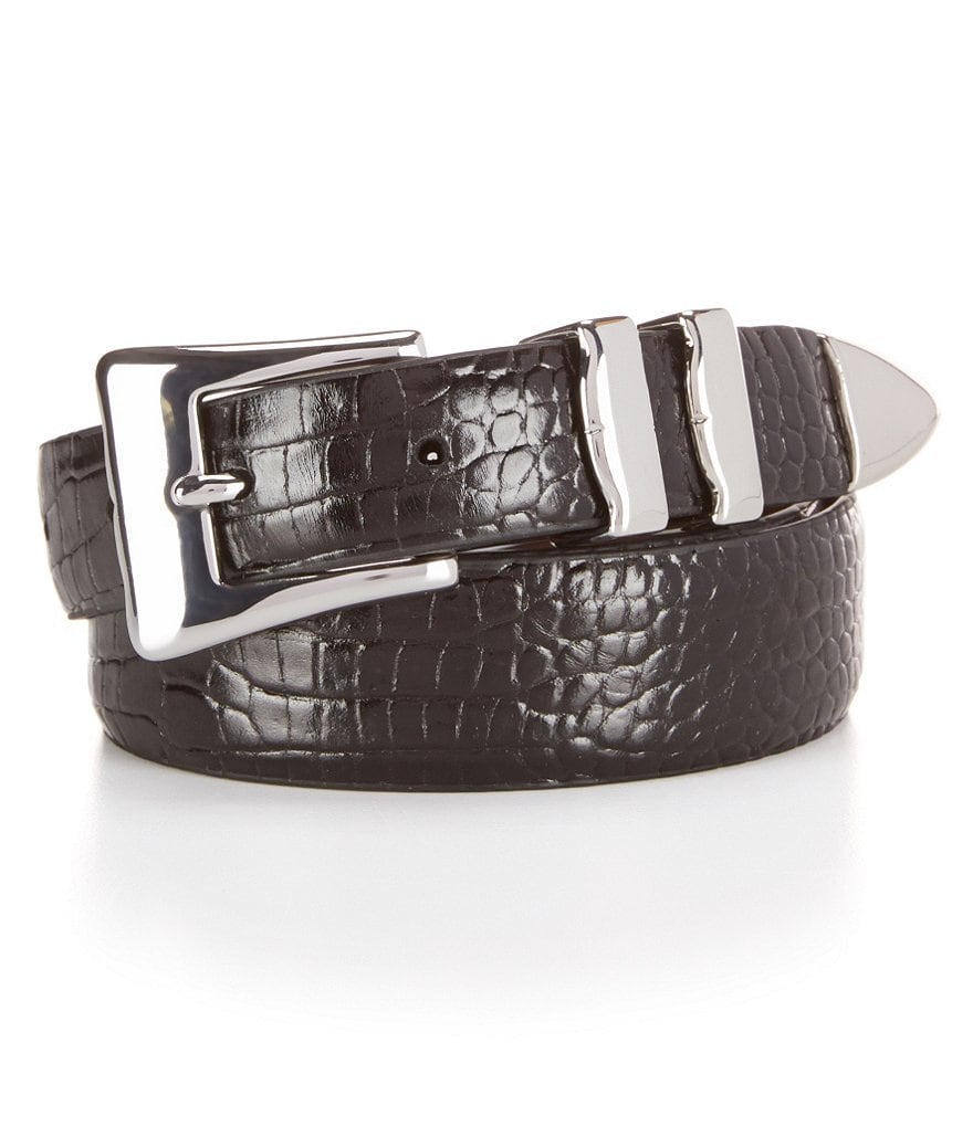 Cremieux Alligator Print Leather Belt
