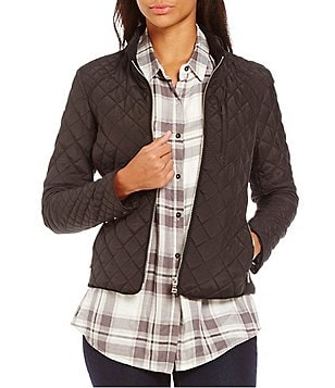 Cremieux Kristin Mandarin Collar Knit Side Quilted Jacket