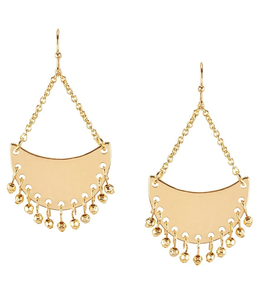 Lauren Ralph Lauren Bali Beaded Hammered Crescent Chandelier Earrings