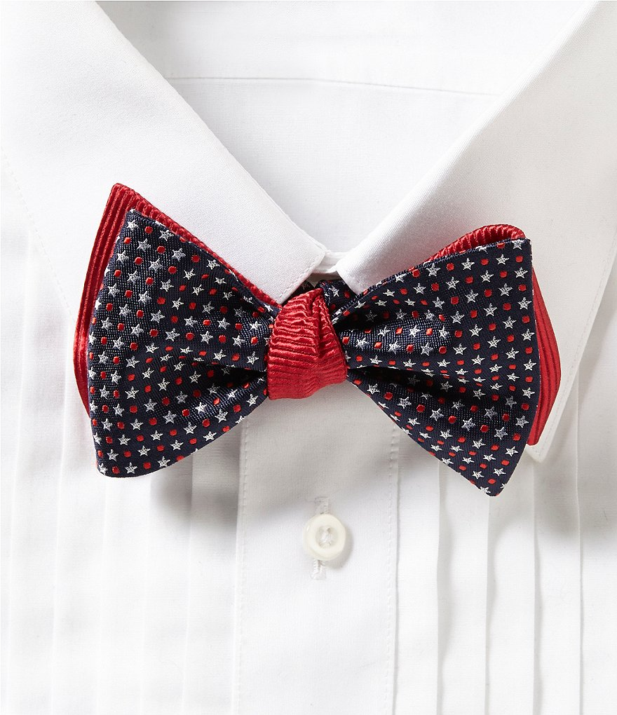 Cremieux Americana Star and Dot Silk Bow Tie