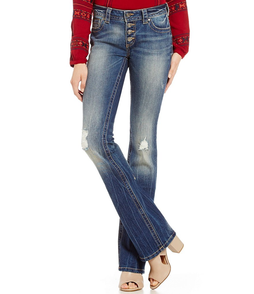Miss Me Button-Front Destructed Bootcut Jeans