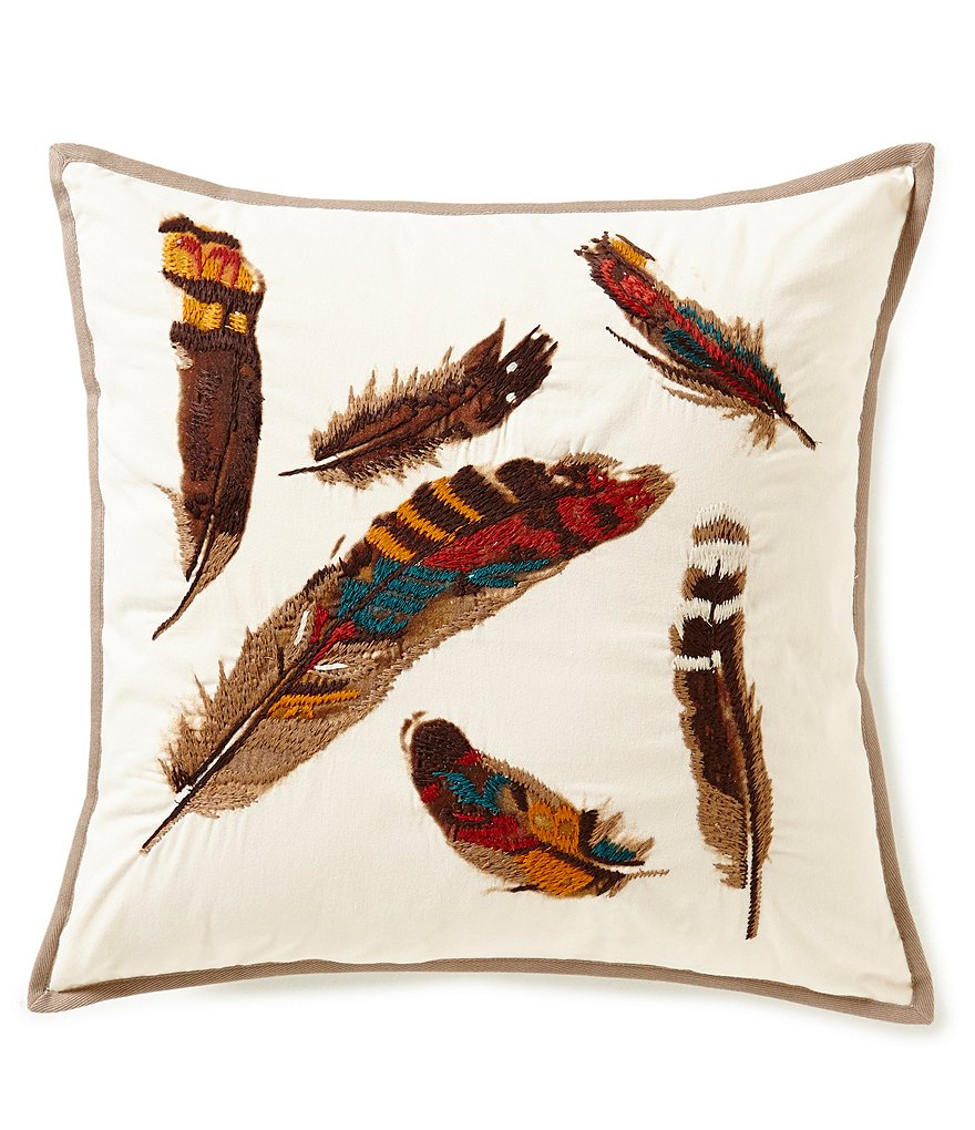 Noble Excellence Nature's Neutrals Feather-Embroidered Square Pillow