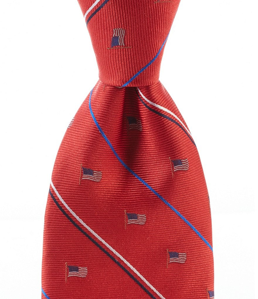 Roundtree & Yorke Trademark Americana Striped Flag Traditional Silk Tie