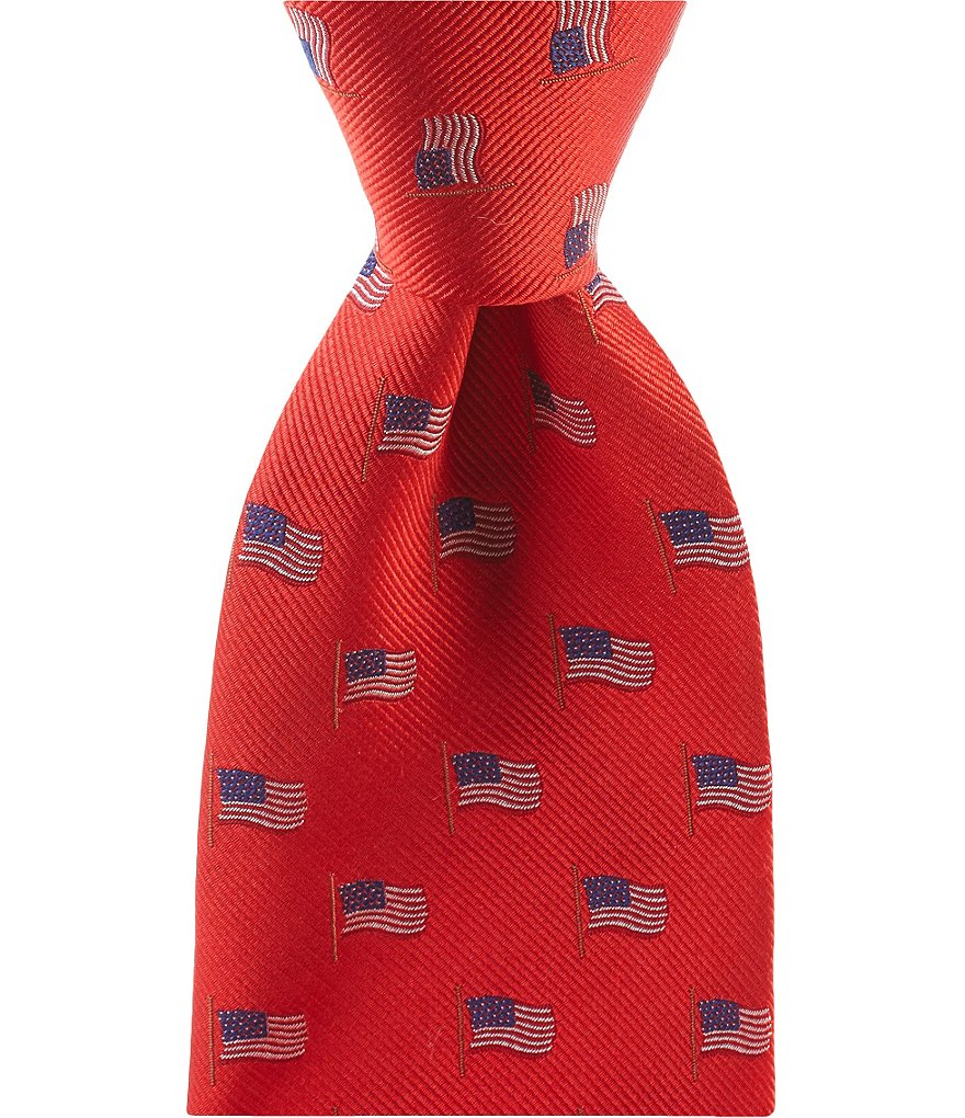 Roundtree & Yorke Trademark American Flag Neat Traditional Silk Tie