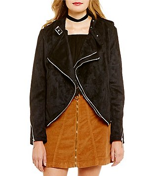 Buffalo David Bitton Sueding Sally V-Neck Moto Jacket
