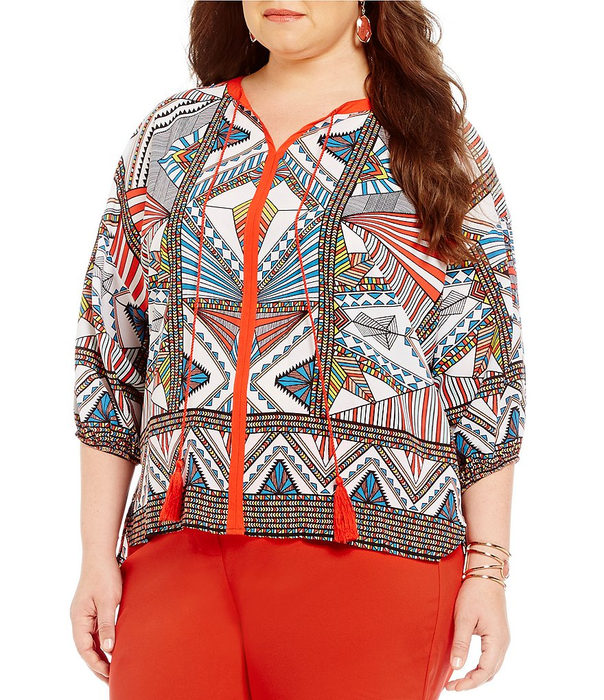 Gibson & Latimer Plus Geo Printed Blouse