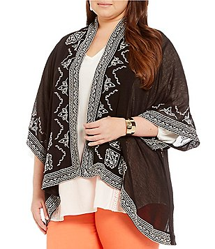 Gibson & Latimer Plus Embroidered Cardigan