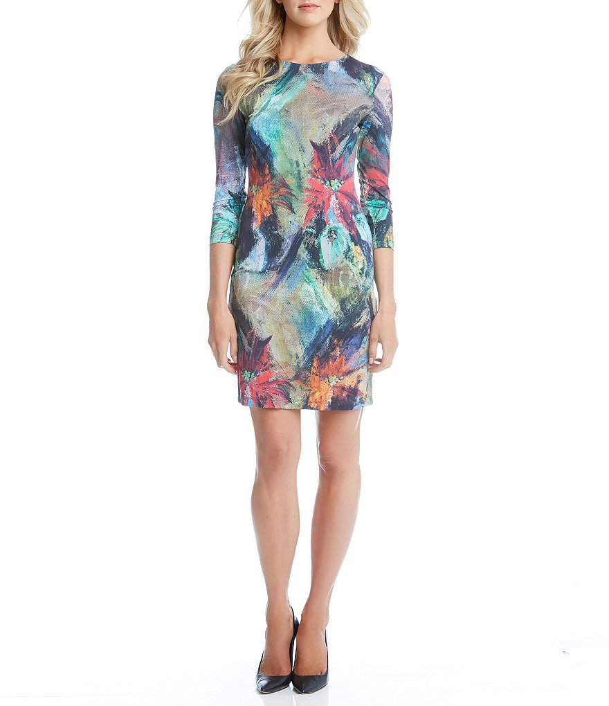 Karen Kane Floral Canvas Sheath Dress