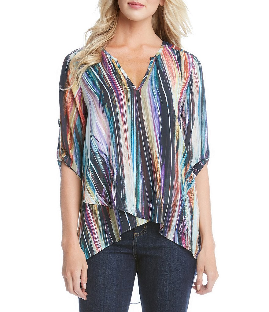 Karen Kane Modern Art Asymmetrical Hem Wrap Top