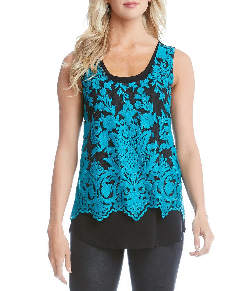 Karen Kane Embroidered Scallop Lace Tank