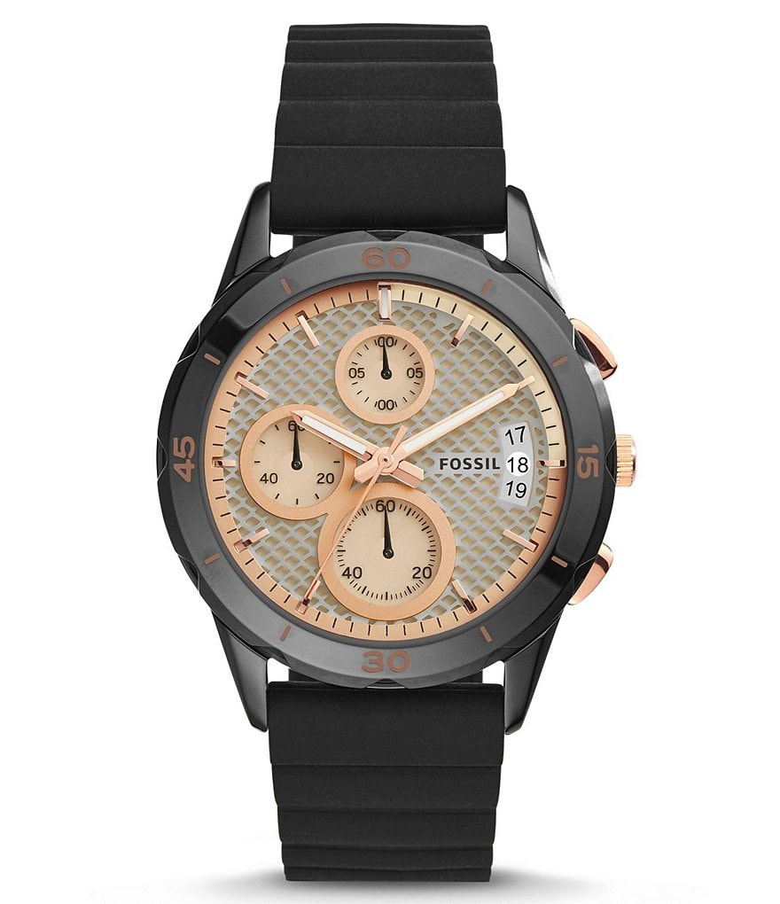 Fossil Modern Pursuit Chronograph Black IP Stainless Steel Silicone Strap Watch