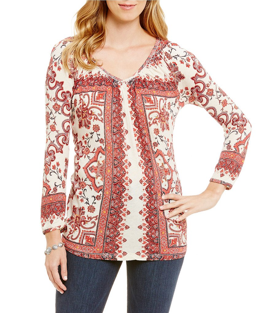 Lucky Brand Placed Print Knit Peasant Top