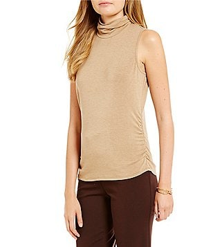 Investments Essentials Petite Sleeveless Scrunch Neck Top
