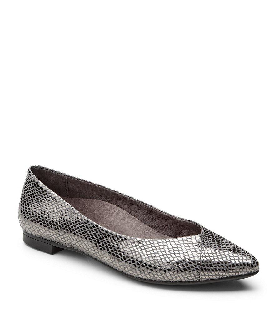 Vionic® Caballo Pointed-Toe Snake-Print Leather Flats