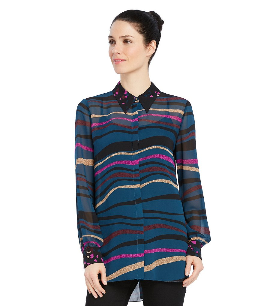Ellen Tracy Mixed Print Georgette Hi-Low Button-Down Tunic