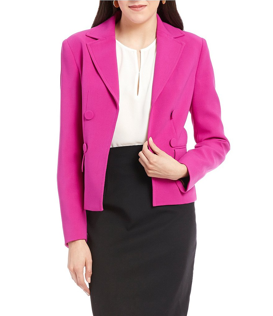 Ellen Tracy Faux Double-Breasted Open Front Cropped Jacket