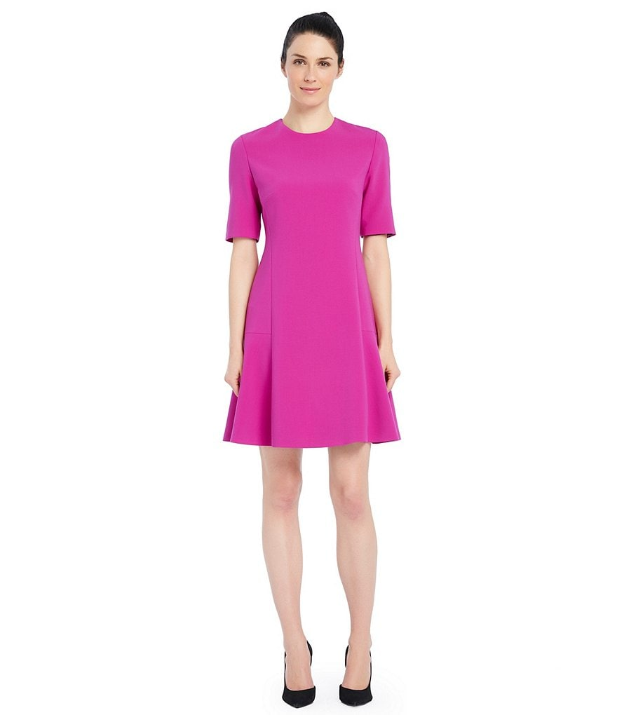 Ellen Tracy Seamed A-Line Flounce Hem Dress