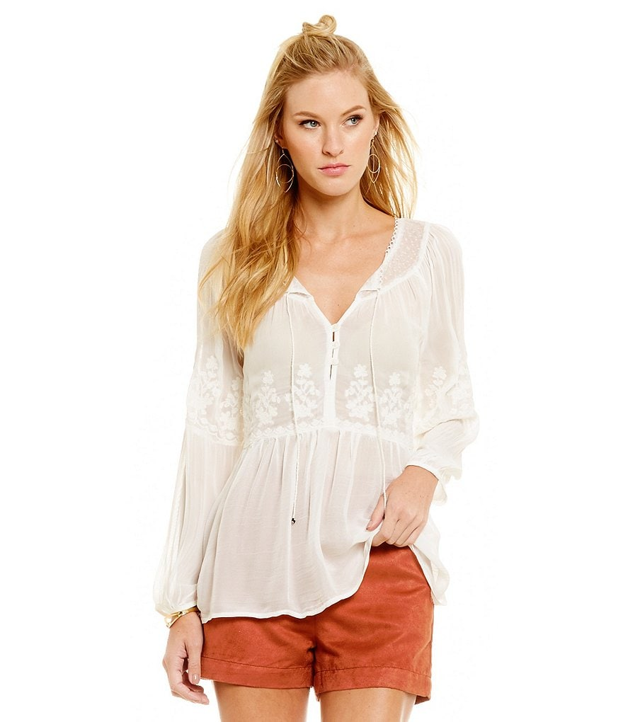 Sanctuary Woven Melody Peasant Top