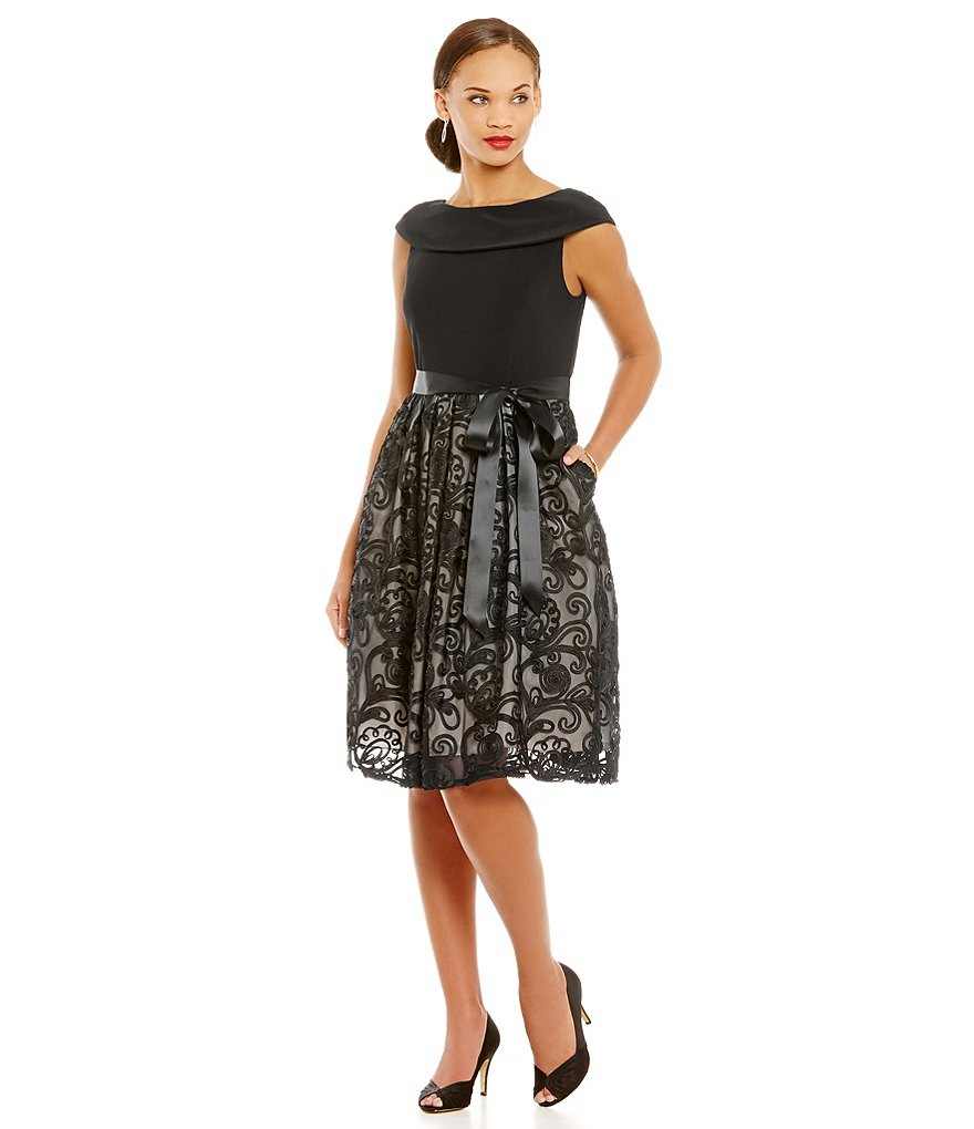 Jessica Howard Portrait Collar Shirred Skirt Dress