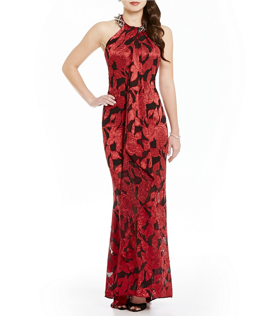Ignite Evenings Printed Beaded Halter Neck Gown