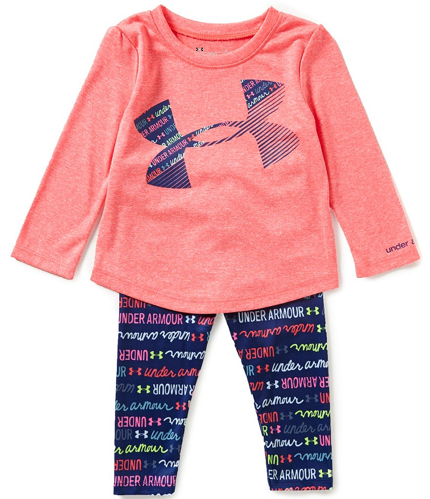 Under Armour Baby Girls 12-24 Months Big Logo Tee & Wordmark-Scripted-Print Pant Set