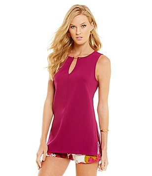 Trina Turk Jalisa Sleeveless Keyhole Bar-Neck Top