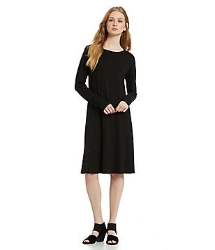 Eileen Fisher Petites Jewel Neck Knee Length Dress