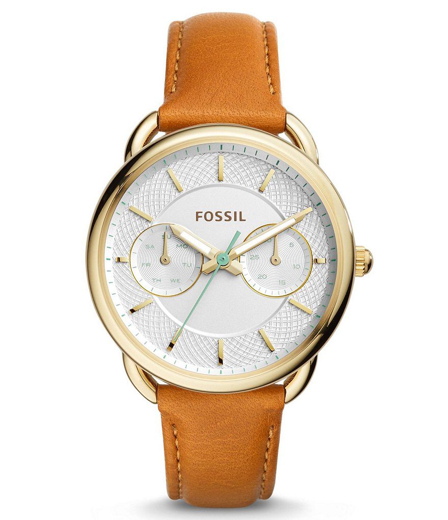Fossil Tailor Multifunction Stainless Steel Brown Leather Strap Watch