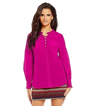 Trina Turk Spontaneous Long Sleeve Woven Top