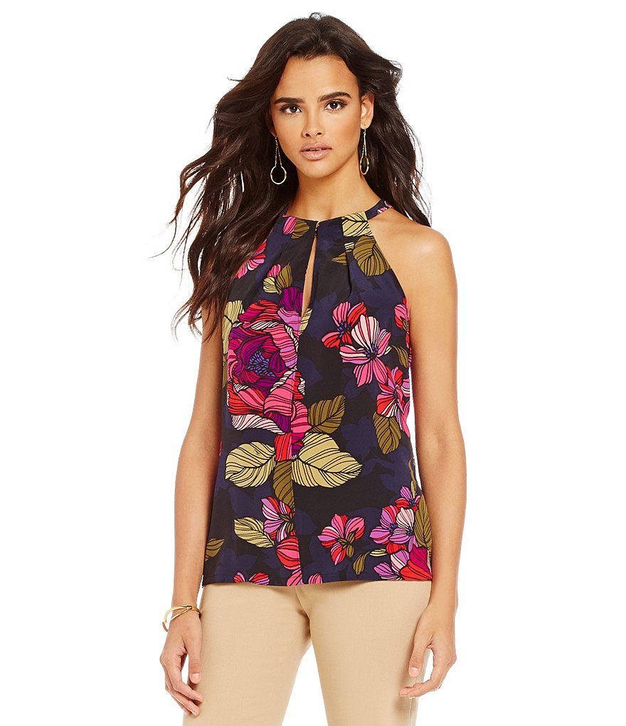 Trina Turk Assured Halter Bar-Neck Tie-Back Silk Floral Top