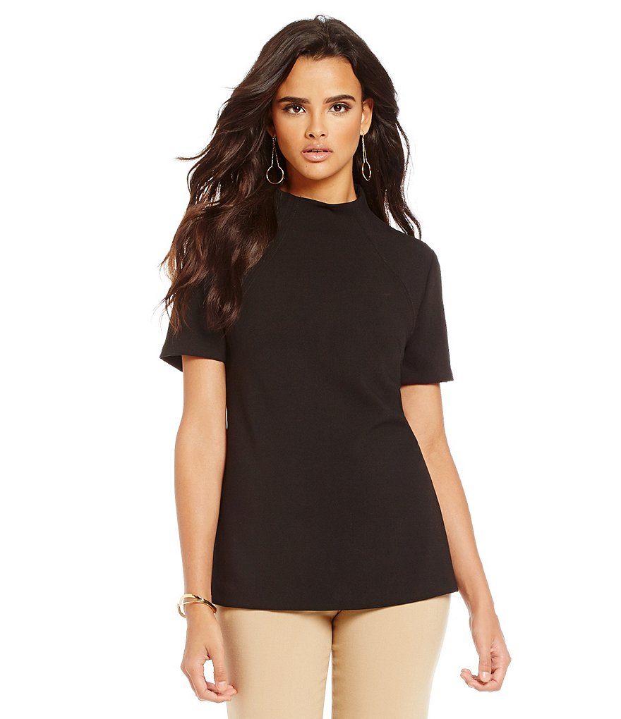 Trina Turk Stunning Woven Mock Neck Top