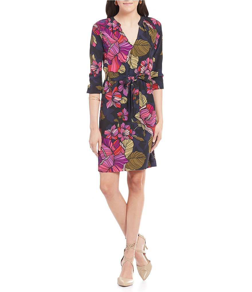 Trina Turk Shirley V-Neck Long Sleeve Silk Floral Dress