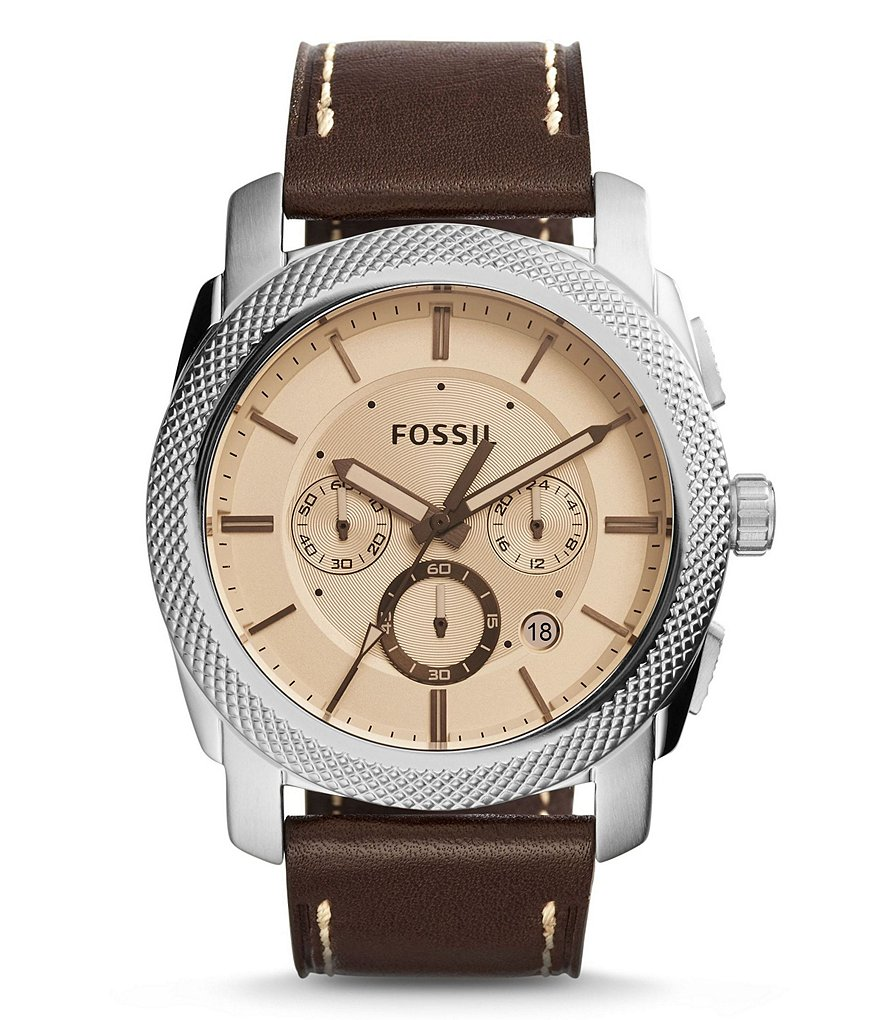 Fossil Machine Leather Strap IP Stainless Steel Chronograph Watch