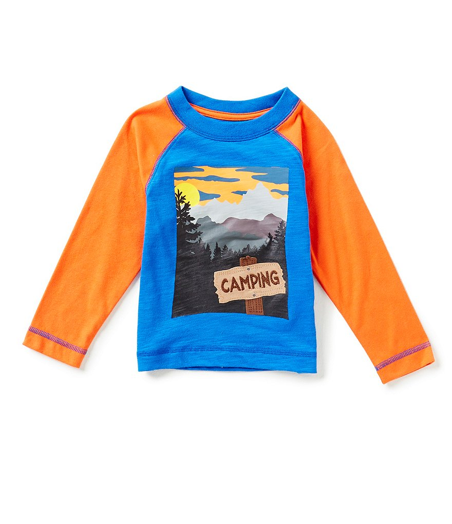 Adventure Wear by Class Club Little Boys 2T-6 3D Camping Screen Print Appliqué Long-Sleeve Tee