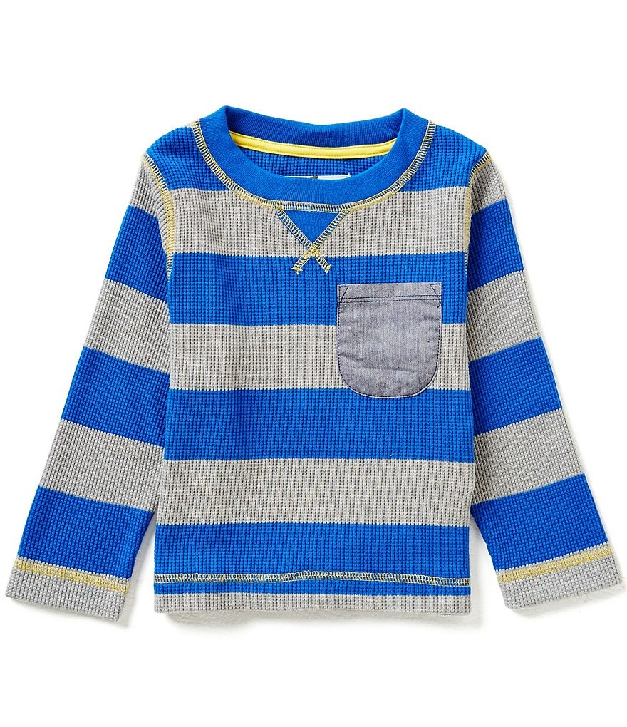 Adventure Wear by Class Club Little Boys 2T-6 Wide Horizontal Stripe Thermal Crewneck Shirt