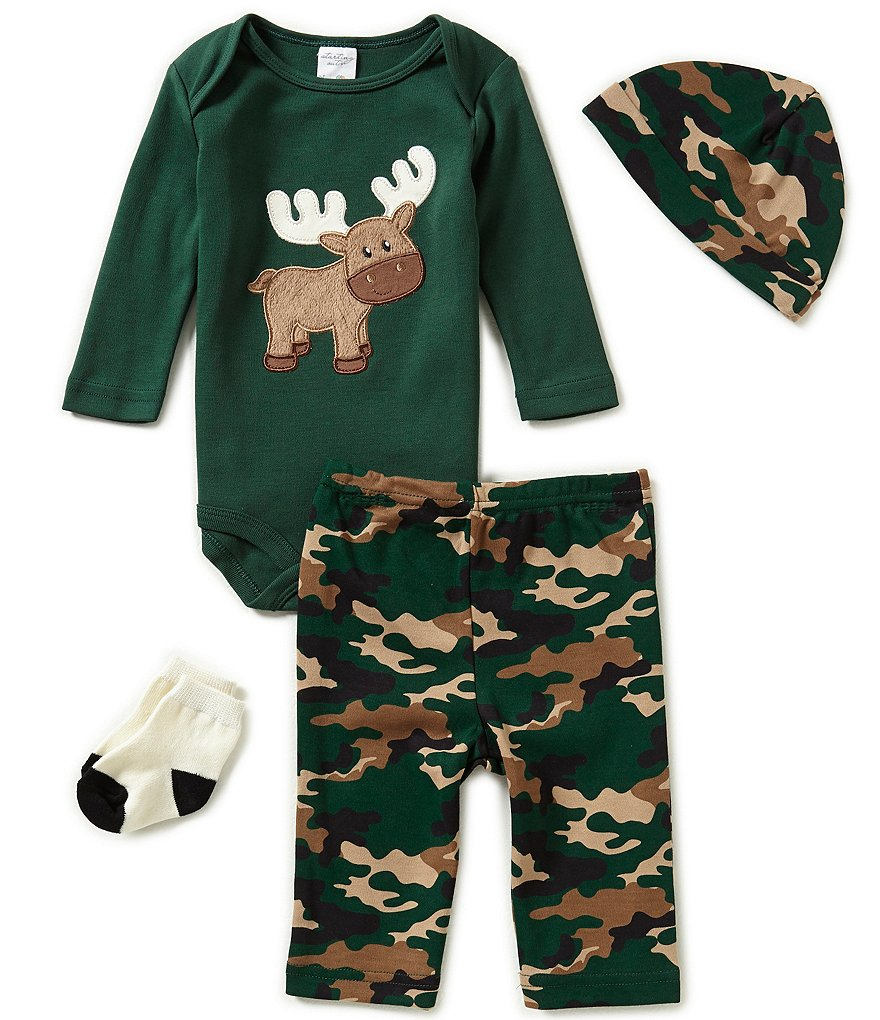 Starting Out Baby Boys Newborn-9 Months Moose/Camo 4-Piece Layette Set