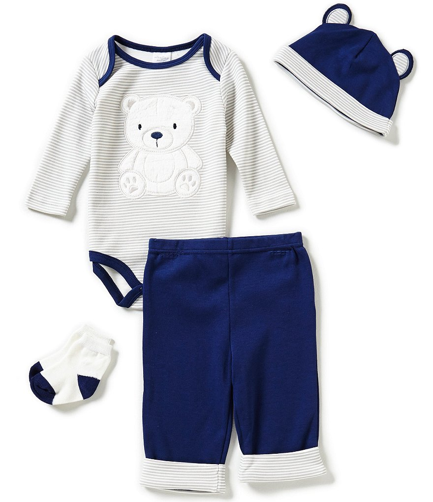 Starting Out Baby Boys Newborn-9 Months Bear Striped 4-Piece Layette Set