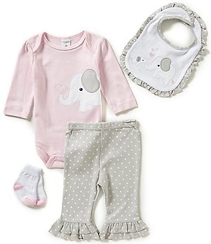 Starting Out Baby Girls Newborn-9 Months Elephant-Appliquéd 4-Piece Layette Set