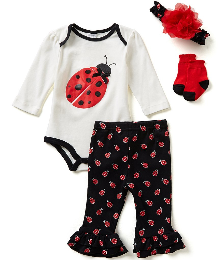 Starting Out Baby Girls Newborn-9 Months Ladybug 4-Piece Layette Set