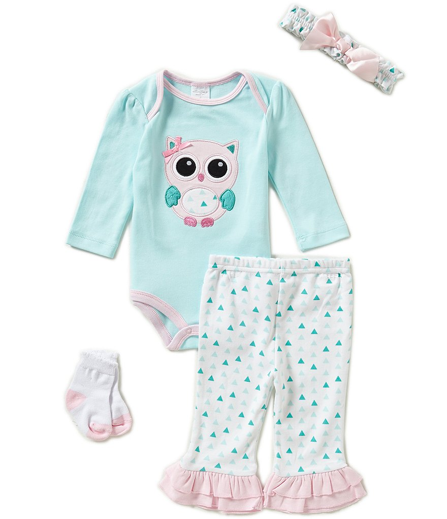Starting Out Baby Girls Newborn-9 Months Owl-Appliqued 4-Piece Layette Set