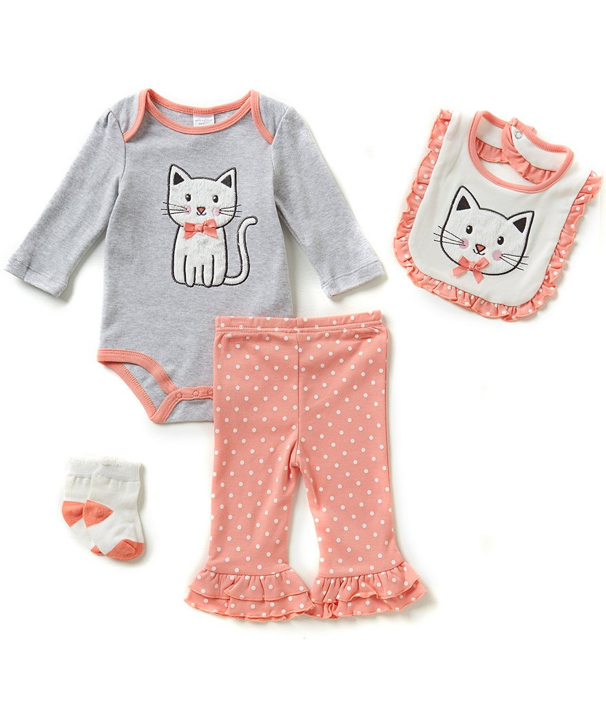 Starting Out Baby Girls Newborn-9 Months Ruffled Cat 4-Piece Layette Set