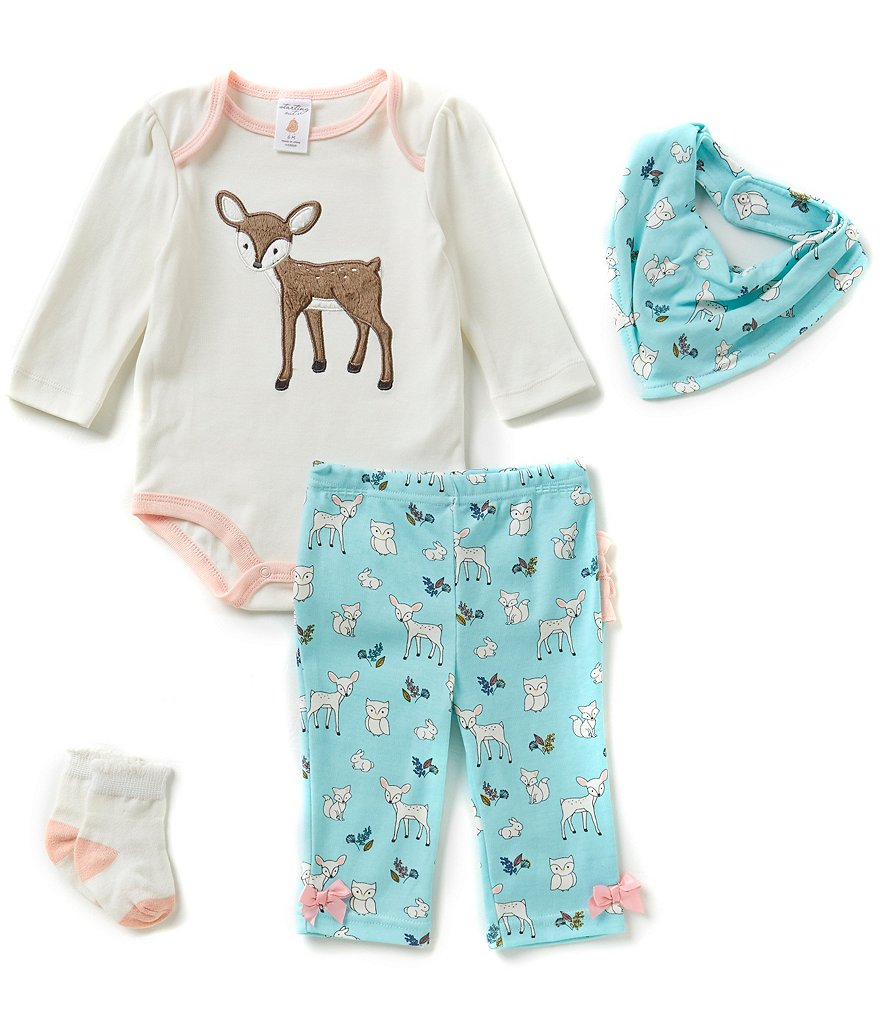 Starting Out Baby Girls Newborn-9 Months Fawn & Woodland 4-Piece Layette Set