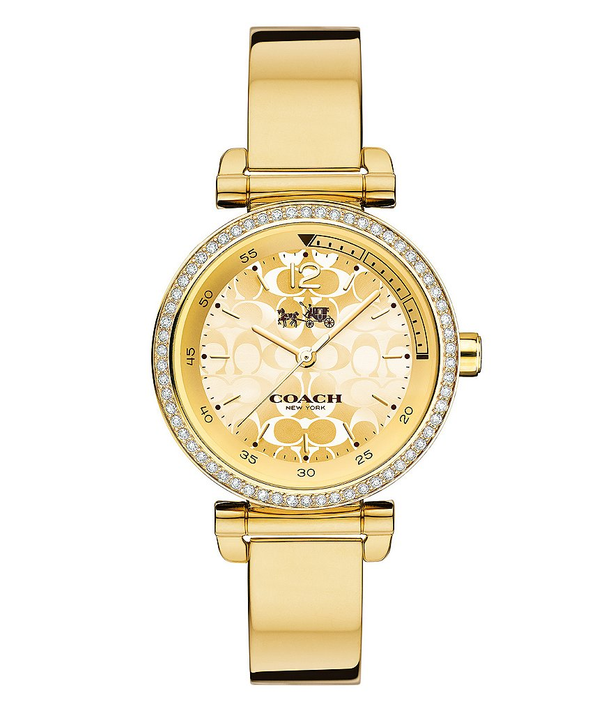 COACH 1941 SPORT GOLD-TONE BANGLE BRACELET WATCH