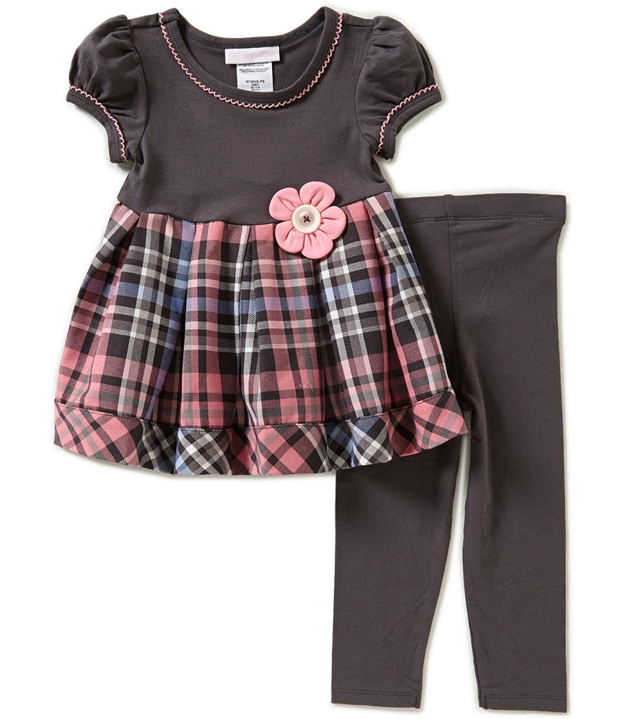 Bonnie Baby Baby Girls 12-24 Months Plaid-Skirt Dress & Leggings Set