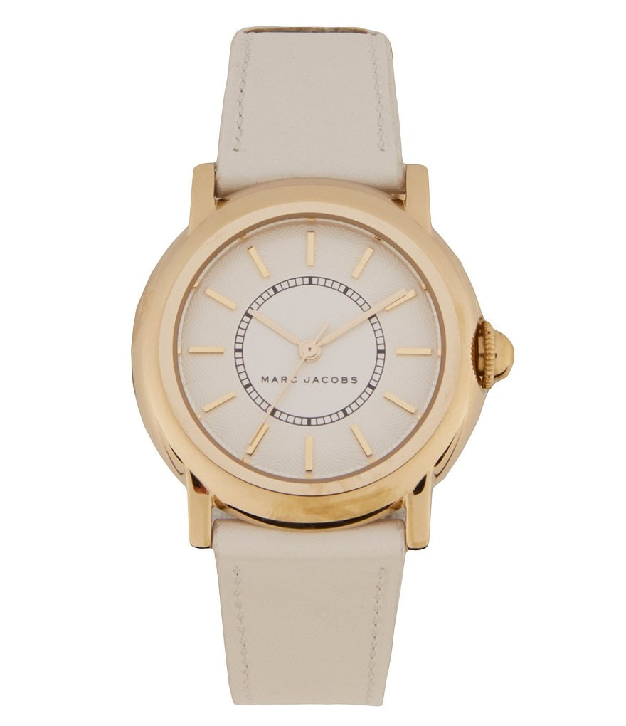 Marc Jacobs Courtney Stainless Steel 3 Hand Analog Leather Strap Watch