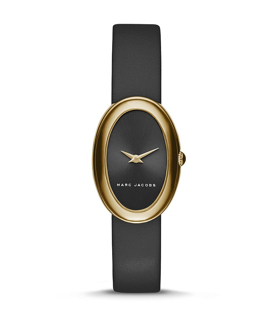 Marc Jacobs Cicely Oval 2-Hand Analog Leather-Strap Watch