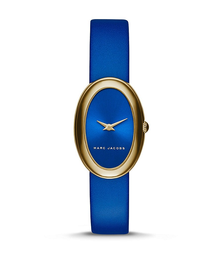 Marc Jacobs Cicely Oval 2-Hand Leather-Strap Watch