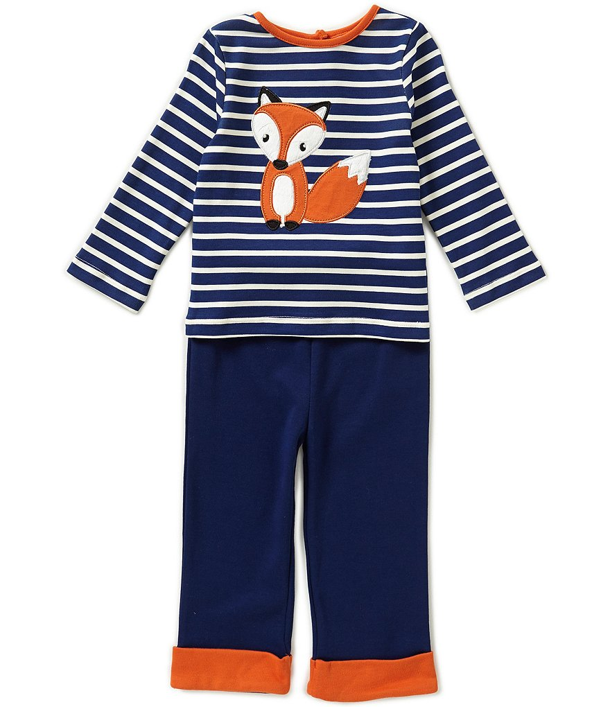 Starting Out Baby Boys 12-24 Months Fox-Appliqué Striped Top & Pull-On Pants Set